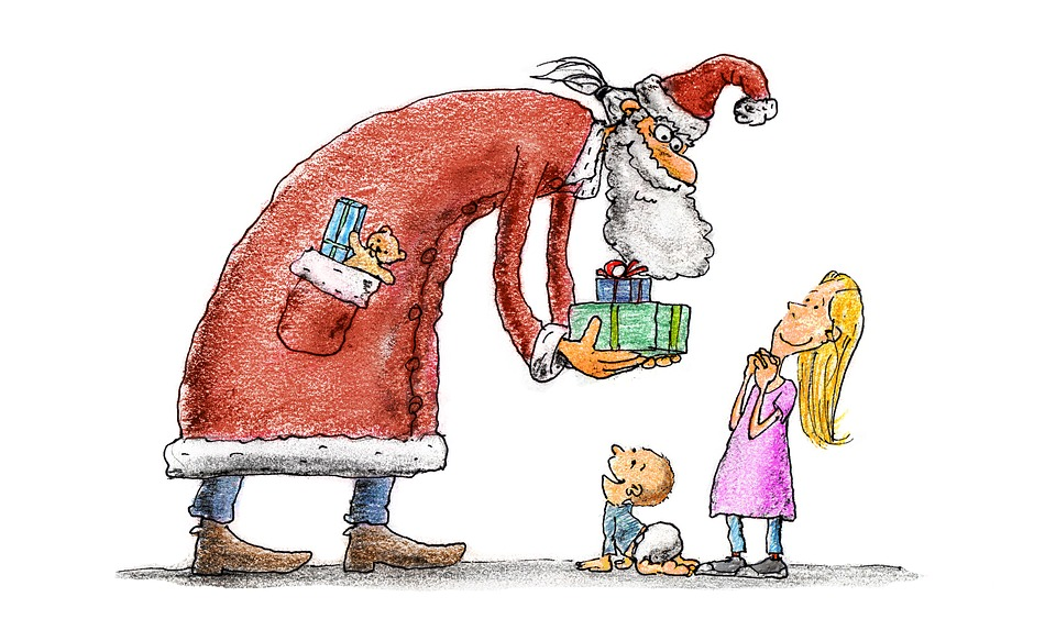 Nikolaus beschenkt Kind